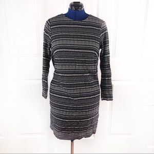 H&M 14 black/white pattern keyhole back dress